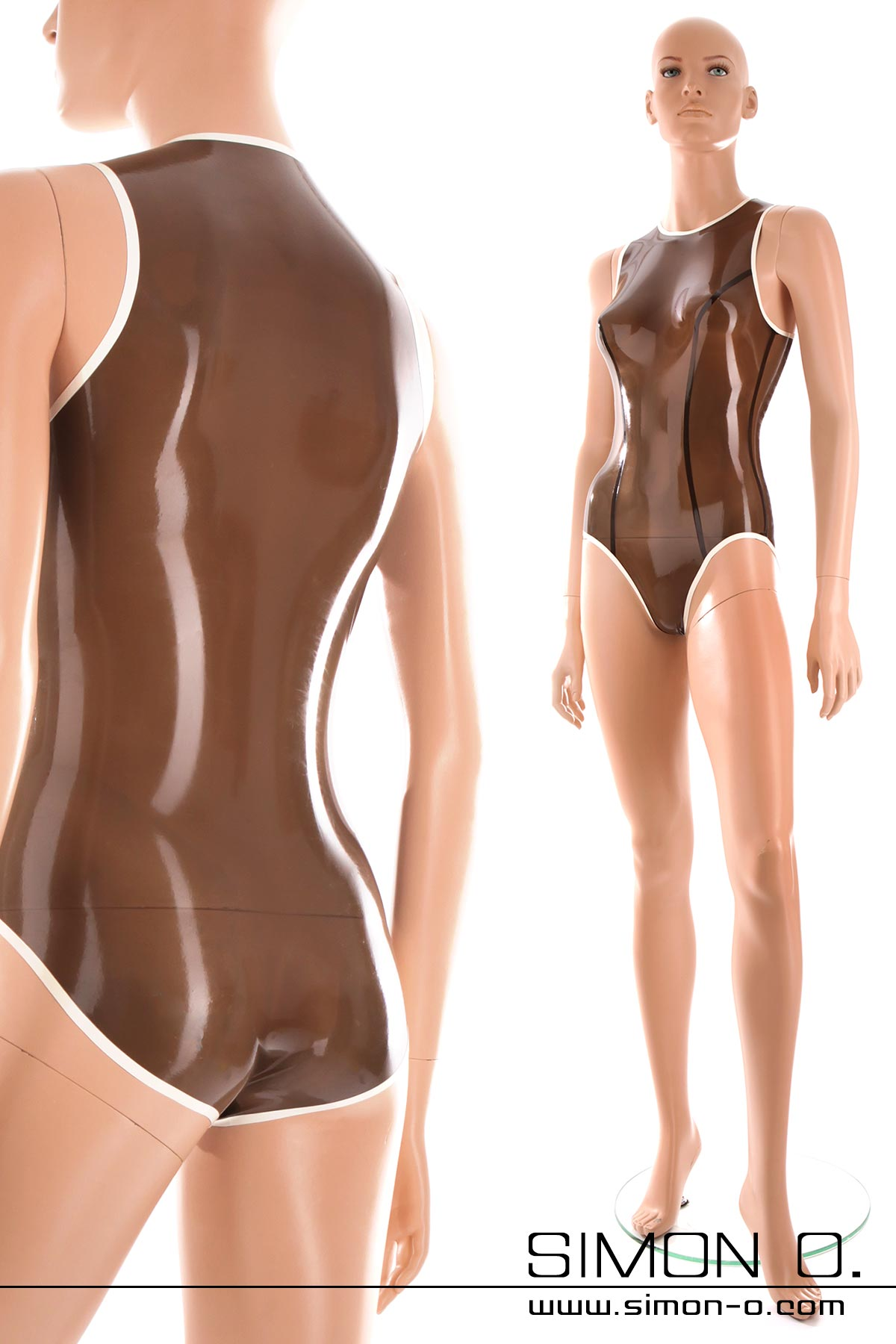 Shiny wetlook swimsuit made of transparent latex