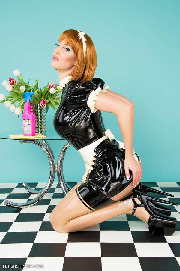 Black white latex dress in maid look