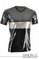 Preview: Tricolor short-sleeved latex shirt in the colors metallic grey, silver and black