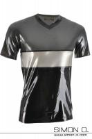 Vorschau: Dreifarbiges kurzarm Latex Shirt in den Farben metallic grau, silber und Schwarz