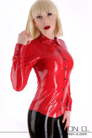 Preview: Elegant latex blouse with a button front and a lapel collar worn by a blonde girl with red lips