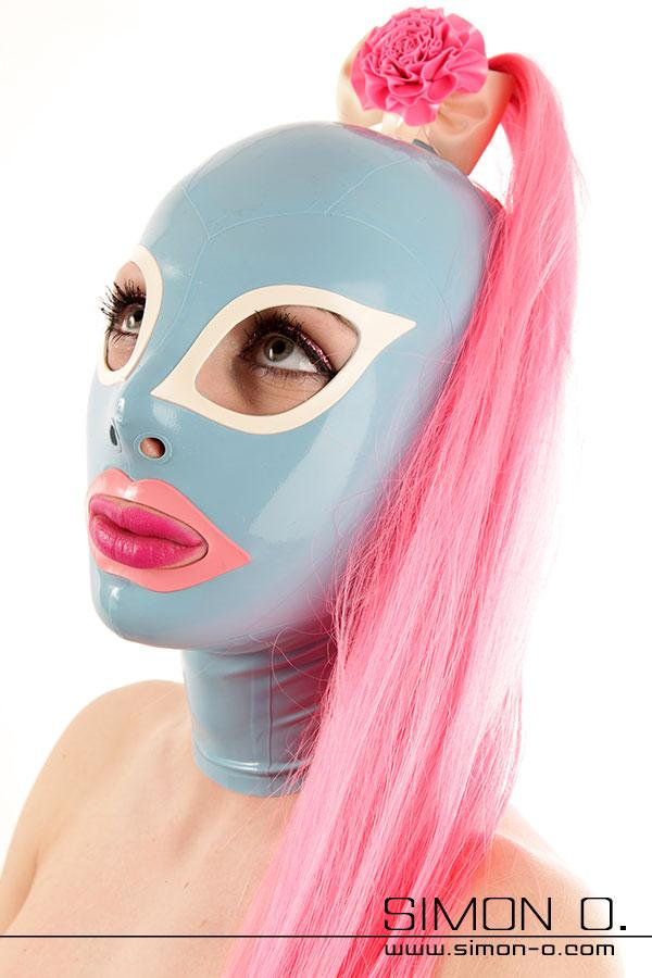 Latex mask with ponytail
