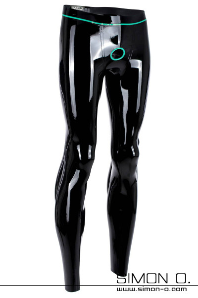 A skintight latex leggings in black with cock ring in a contrasting color