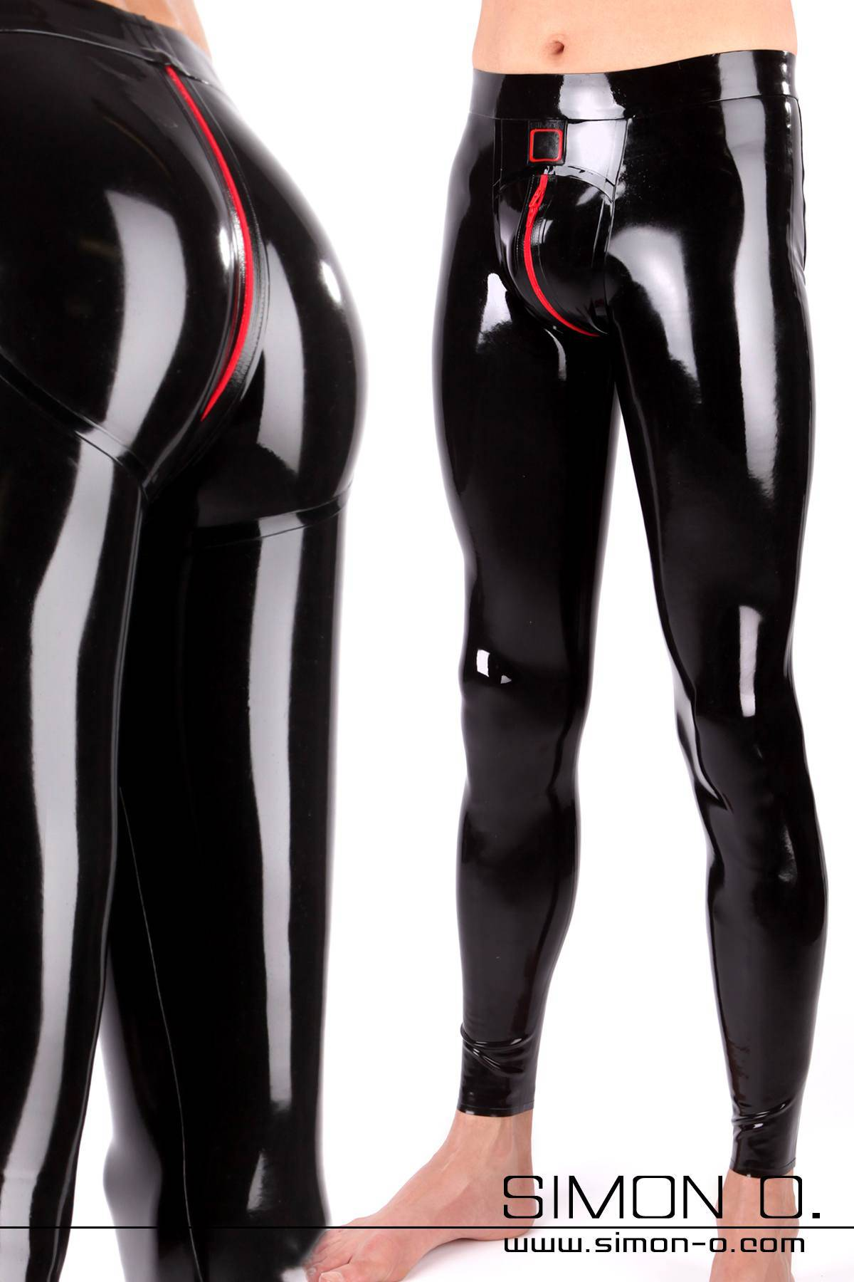 Tight latex leggings for men with push up effect in the seat area. Shiny black with full-length zipper at crotch
