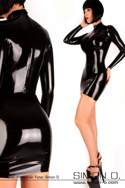 Latex mini dress with long sleeves in black