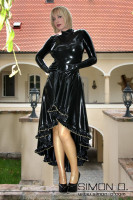 Preview: Elaborately crafted long latex circle skirt At the hem this exquisite latex skirt are several meters of gorgeous ruffles which are individually laid and glued …
