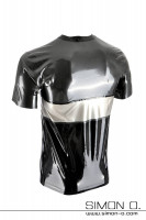 Preview: Short sleeve latex shirt in three-coloured design in metallic grey, silver and black