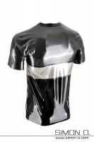 Vorschau: Kurzarm Latex Shirt im dreifarbigen Design in den Farben metallic grau, silber und Schwarz