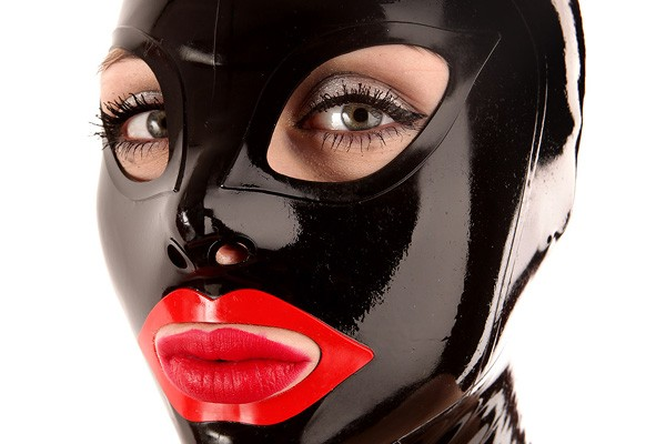 black latex mask with red lips