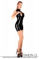 Vorschau: hautenges Latex Minikleid in Schwarz und mit Brustöffnungen