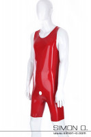 Preview: Red men's latex body without sleeves with round outlet for penis