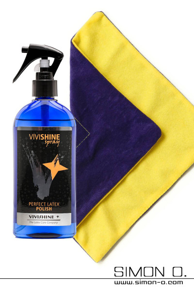 Care set for latex clothing Spray for high gloss with VIVIWIPE the ideal polishing cloth for latex surfaces