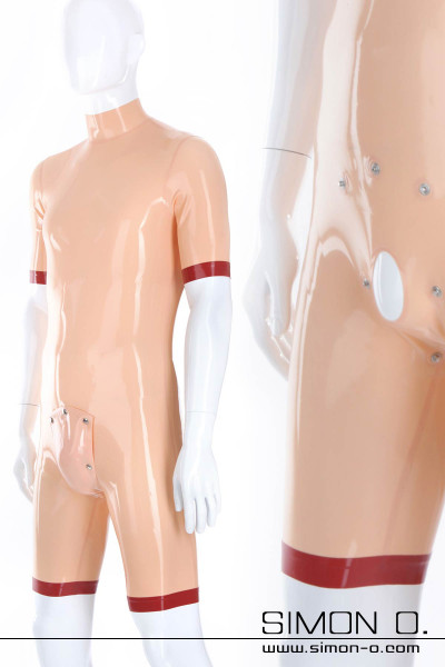 Latex surf suit with codpiece in skin color with short arms and legs