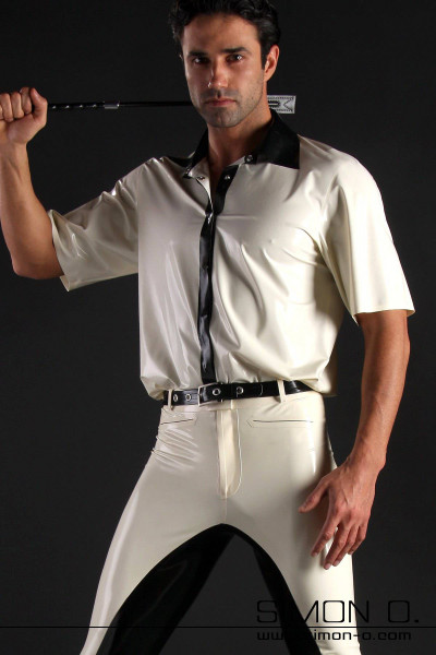 Short sleeved latex shirt for men in white with button panel in the contrasting colour black