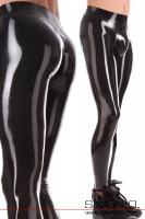 Vorschau: Hautenge schwarze glänzende Latex Leggings für Herren mit ausgeformten Genitalbereich und Zipp im Schritt.