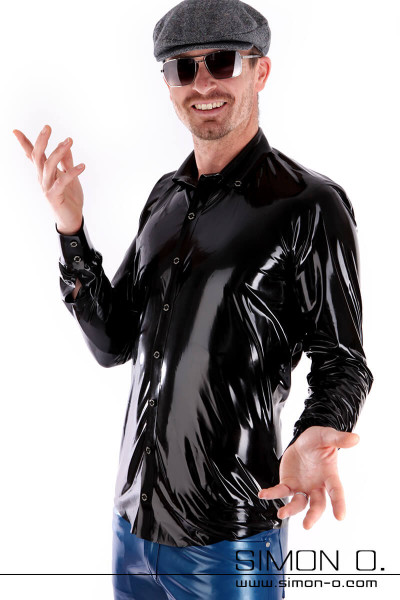 A man wears a shiny Slim Fit Latex Men shirt in black with button facing and lapel collar