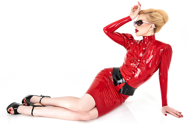 tight shiny red latex skirt in combination with a latex blouse