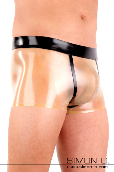 A shiny transparent latex underpants with black waistband