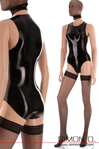 Black latex body in wetlook with round neckline