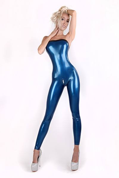 Latex Jumpsuit in blau