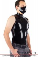 Vorschau: Enges glänzendes Latex Shirt in Schwarz für Herren mit Stehkragen -von vorne gesehen.