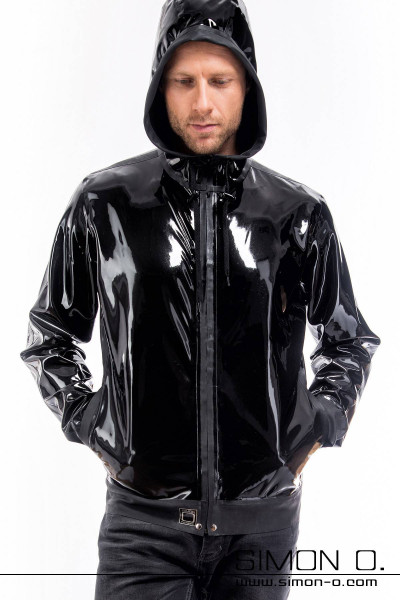 Ellaborately processed hooded latex jacket for men Comes with practical pockets should definitely find a new home in your latex fetish wear wardrobe. If you …