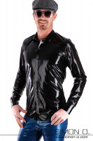 Preview: A man wears a shiny latex men shirt in black with button facing and lapel collar