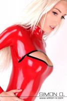 Preview: Tight fitting latex catsuit with cleavage in red