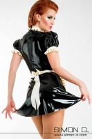 Preview: Maid latex dress with frills in black with white including latex apron seen from behind