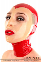Preview: A woman wears a red latex hood with a see-through face shield