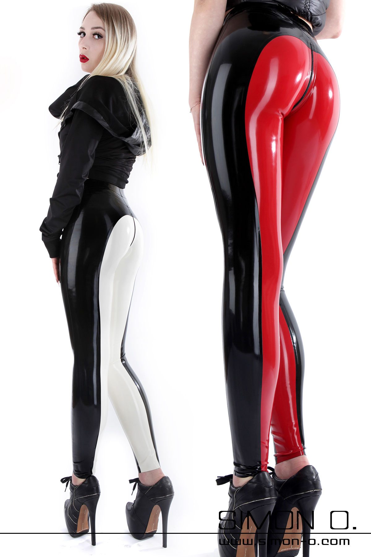 Skintight latex breeches with zip in the cut area in the colours black with red and black with white