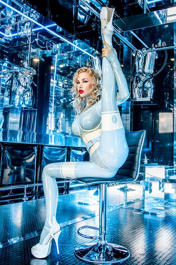 Light blue latex catsuit with transparent latex underwear