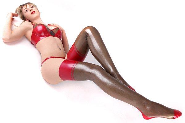 Latex Unterwaesche Set für Damen bestehend aus Slip, Strümpfen und BH