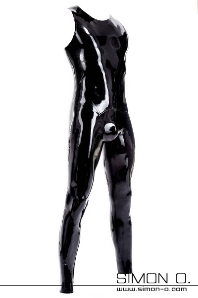 A black shiny latex suit with round neckline and zipper in the crotch