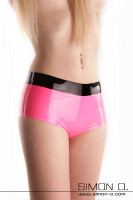 Preview: Skin tight shiny latex hot pant in pink with black waistband seen from the front