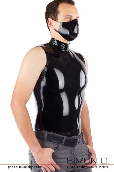 Enges glänzendes Latex Shirt in Schwarz für Herren mit Stehkragen -von vorne gesehen.