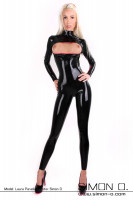 Preview: Tight black latex catsuit with chest zip to open seen from the front