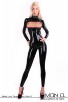 Vorschau: Enger schwarzer Latex Catsuit mit Brust Zipp zum öffnen von vorne gesehen