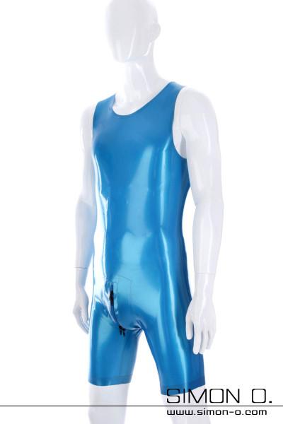 Sleeveless Men Latex Surfsuit in blue