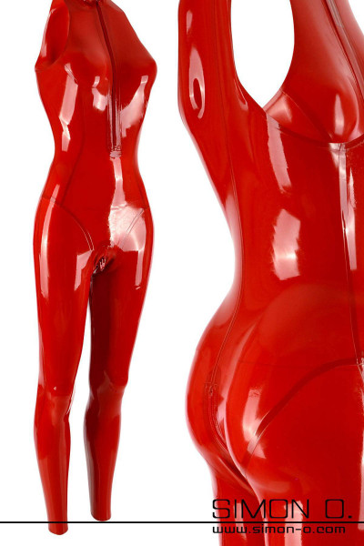 Sleeveless Red Ladies Latex Catsuit with Zipp in the crotch