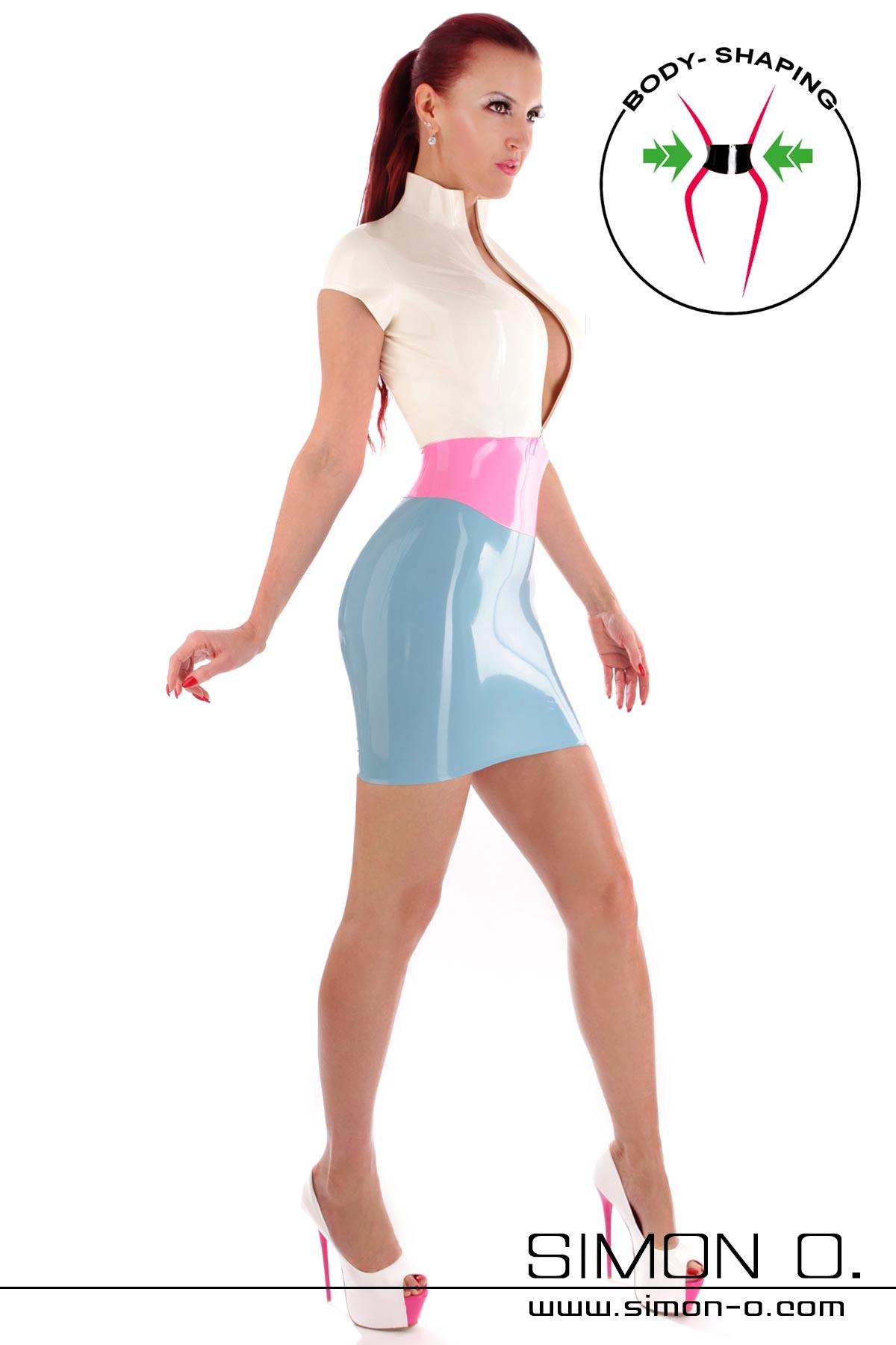 Latex Minikleid dreifarbig mit kurzen Ärmeln Zipp vorne und eingearbeiteter Miedergürtel