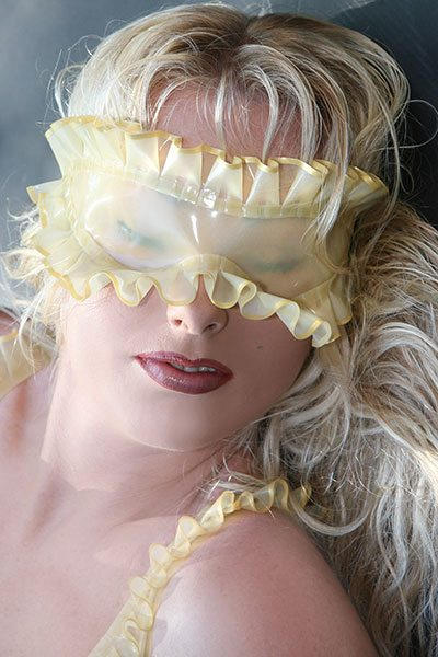 latex blindfold with frills