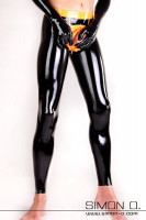 Preview: Skin tight black latex leggings with a cock ring hidden behind a zipper