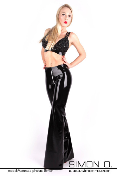 Black latex pants in high-gloss wet look optic with zipper in the crotch