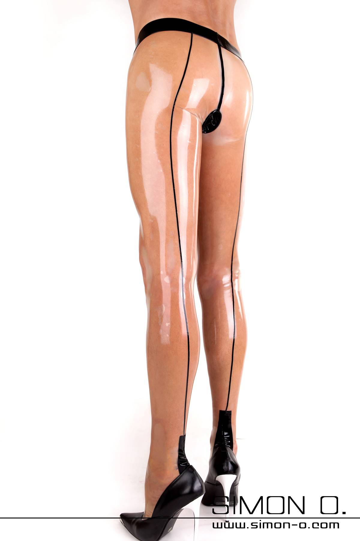 Sexy men's latex pantyhose with backseam, Cuban heel and codpiece A zipper in the anal area or an anal condom can be configured into these gorgeous latex …