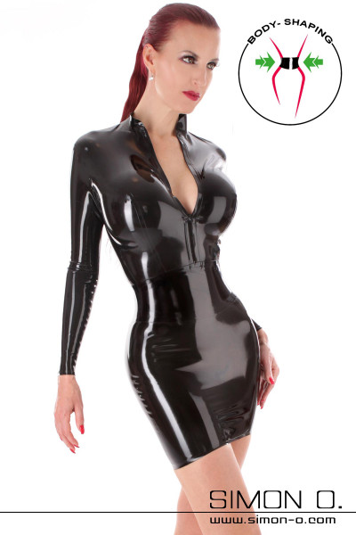 Black shiny latex mini dress with corset and long sleeves and zip in front