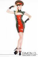 Preview: Latex dress in military uniform style Latex dress in a stark military uniform style with a stunning keyhole neckline. The button rows give this latex dress an …