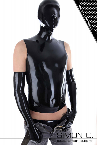 A man wears a black latex shirt with a latex hood.
