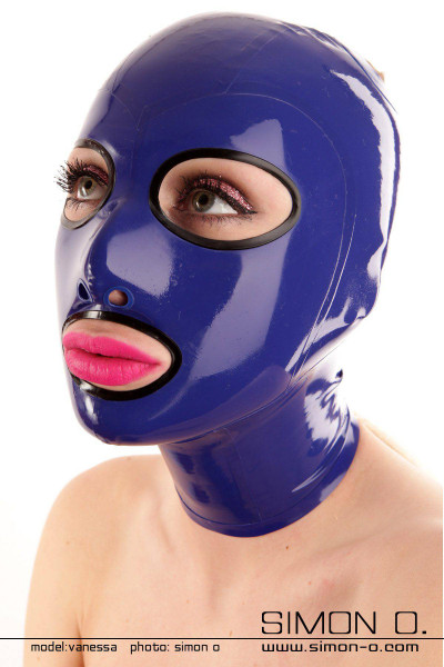 Latex mask with enclosed round eyes The eyes and mouth of this latex mask are edged with seamlessly cast borders. The available contrasting colours of the …