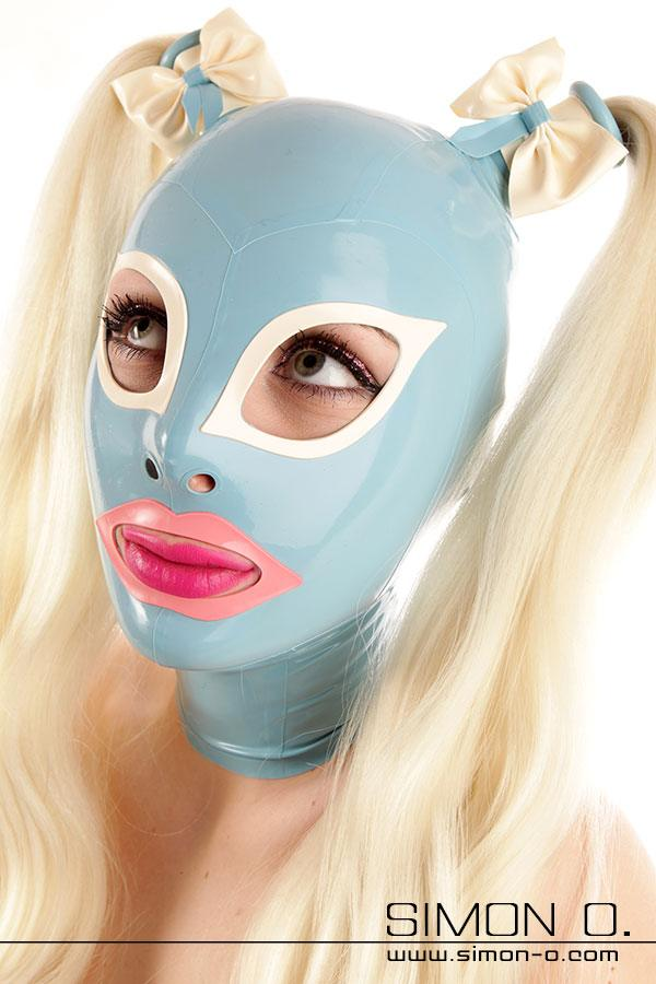 Latex mask with 2 hair outlets for own hair or tube with hair piece